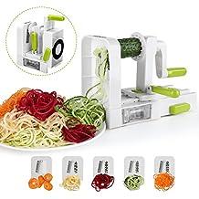 Cortador de verduras en espiral de 5 Cuchillas,Sedhoom doblado espiralizador de verduras de fácil uso para cortar frutas y verduras en espiral,juliana,espaguetis,tallarines,cintas o fideos (horizontal)