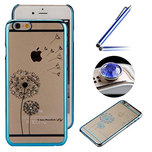 Etsue Dur Clear PC Coque pour iPhone SE/5/5S, Luxe Bling [Pissenlit Argent] Plaquer par Galvanoplastie Diamant Glitter Cristal Ttransparent Coquille Dure Aérien Protecteur Case étui pour iPhone SE/5/5 Pissenlit Bleu