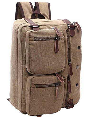 Minetom Unisex Vintage Kurier Beutel Leinwand Aktentasche Rucksäcke Arbeitstasche Umhängetasche Laptoptasche 14 Zoll für Reisen Khaki