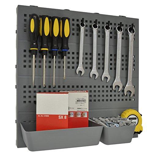 Kit porta attrezzi modulare da parete 40 x 40 cm, include ganci e vaschette. Uno strumento essenziale per l'organizzazione del garage e della casa.