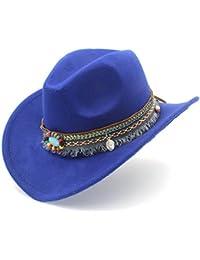 IWGR Cappello da Cowboy Occidentale da Donna per Cappelli Sombrero in Feltro  Cowgirl con Nappe e Nappe (Colore   Blu 7acdeefc9b6c