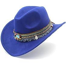 ZLFZZZ Moda Mujer Hombre Occidental Sombrero de Vaquero para señora Borla  de Fieltro Vaquera Sombrero Gorras afc8d5aa0cd