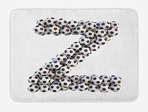 Letter Z Bath Mat, The Last Letter of Football Alphabet Diagonal Horizontal Football Stack Sign, Plush Bathroom Decor Mat with Non Slip Backing, 15.7X23.6 inch, Black and White