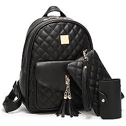 Beylasita Damen Tasche Set Daypack 3 in 1 PU Rucksack Backpack mit Clutch Geldbörse Kartenetui Schwarz