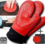 Oven Gloves - Premium Heat Resistant Oven Mitts - Silicone/Cotton Waterproof Double - BONUS Sponge/Scrubber & Pot Holder/Non-Slip Mat. Kitchen Cooking - Baking, Grilling, Barbeque, Black/Red