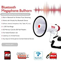 NEW 2015 !!!! MEGAFONO PROFESSIONALE PYLE PMP42BT BIANCO E ROSSO DA 40 WATT MAX CON FUNZIONE DI ALLARME UDIBILE FINO A 900 METRI CON INGRESSO USB SD CARD JACK 3,5 MM AUX E TECNOLOGIA BLUETOOTH INTEGRATA - Megafono Auto