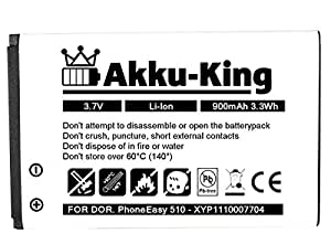 Akku-King 20109562Lithium-Ion 900mAh 3.7V rechargeable battery–Rechargeable Batteries (900mAh 3.33Wh, Lithium-Ion (Li-Ion), 3.7V, Black, White, High)