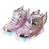 Hibote Jungen Mädchen Light Up Schuhe Prewalker Engels Flügel Solf Turnschuhe Rosa EU 23
