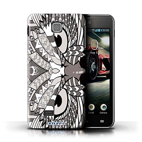 Kobalt® Imprimé Etui / Coque pour LG Optimus F5/P875 / Loup-Vert conception / Série Motif Animaux Aztec Hibou-Mono