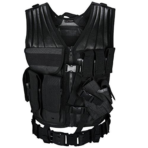 t Koppel Tactical Vest Paintball Airsoft Softair Weste BlackSnake® - Schwarz (Mann Angel Kostüm)