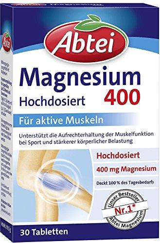 Abtei Magnesium 400mg Tabletten, 30 Stück, 1 er Pack (1 x 39,5g) (30 Tabletten 1 Täglich)
