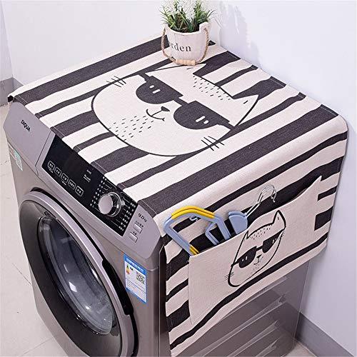 Preisvergleich Produktbild Waschmaschinendeckel Baumwolle und Leinen Trommel Waschmaschine Abdeckung Tuch Nachttisch Single Door Refrigerator Cover Staubtuch Kühlschrank Handtuch Geeignet für die meisten Top- oder Frontlader-Wa