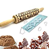 Teigroller Weihnachten Elch Muster Nudelholz Holz Teigroller Backzubehör mit 8 Ausstechformen für Weihnachtsplätzchen 43CM