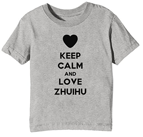 Keep Calm and Love Zhuihu Kinder Unisex Jungen Mädchen T-Shirt Rundhals Grau Kurzarm Größe XS Kids Boys Girls Grey X-Small Size XS