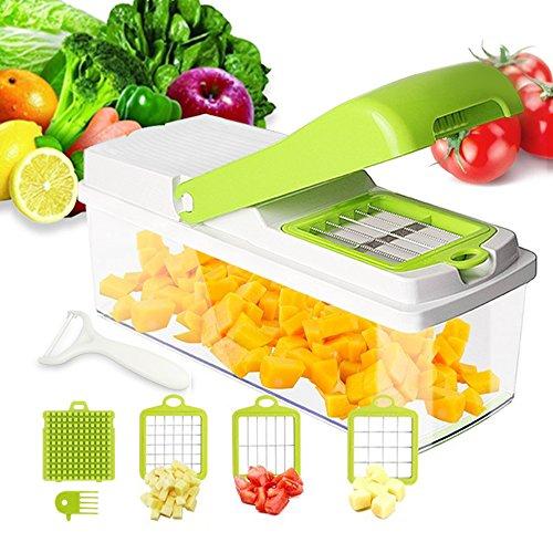 1Anberi Mandoline Gemüseschneider Manuell 6 in 1 Zerkleinerer Kitchen Zwiebelschneider Gemüsehobel Küchenhobel Kartoffelschneider für Gemüseschäler Gemüse und Obst (Grün + Weiß, Mandoline)