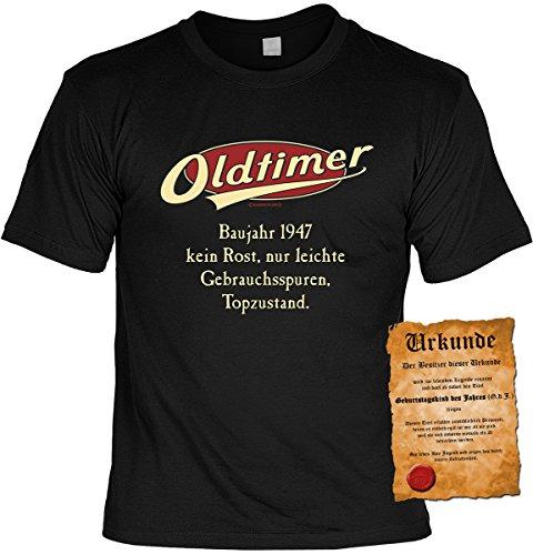 Lustiges Geburtstagsgeschenk Leiberl für Männer T-Shirt mit Urkunde Oldtimer Baujahr 1947 Leibal zum Geburtstag Schwarz