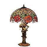 Europeo Gorgeous Rose Vitrales Sala De Estar Comedor Dormitorio Lámpara De Mesa Base De Belleza Iluminación Del Hotel Junto A La Cama Línea De Tracción De 16 Pulgadas Lámpara De Lectura Grande E27