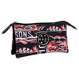 51 k%2BCi8VLL. SS324  - Maui and Sons Maui Shark Estuche de Tres Compartimentos, Color Rojo