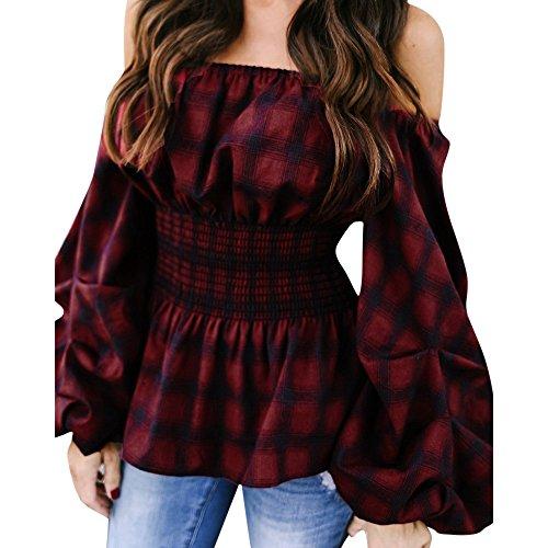 Plaid camicia donna elegante con campana maniche lunghe senza spalline maglietta (s)