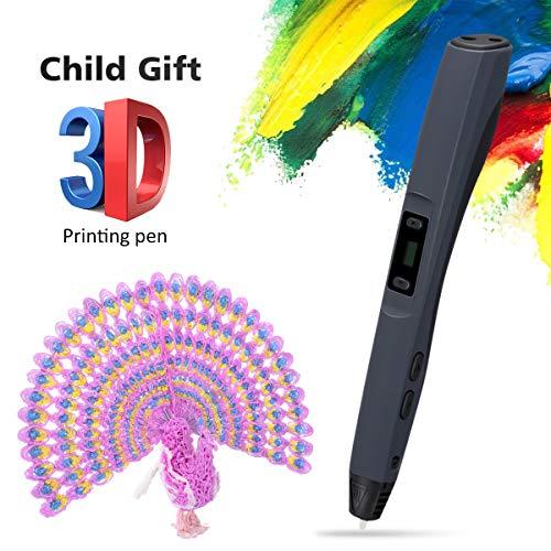 CRITIRON 3D pen, Boligrafo 3D, Pluma de impresión 3D, impresión estereoscópica 3D con pantalla LED para niños, con ABS filamento, bolsa de almacenamiento y estuche, ideal regalo para niños en Semana Santa
