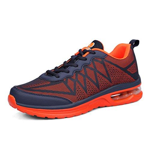 Men's Air Mesh Lightweight Lace Up Athletics Running Shoes Orange