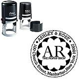 Round Address-Monogramm-Stempel Individuelle Desk Accessory Geschäftsadresse Selbst Farbwerk Stamp