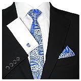 GASSANI 3- SET Krawatte & Einstecktuch Manschettenknöpfe Blau Silber Grau BINDER Schmale KRAVATTE zum ANZUG VERLOBUNG HOCHZEIT HERREN SCHLIPS Hochzeitskrawatte
