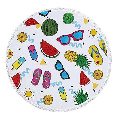 LYJZH Rundes Strandtuch- Ice Cream Cool Print Mikrofaser Badetuch mit Quaste Tapisserie Yoga-Matte Badetuch - 04 150 * 150cm