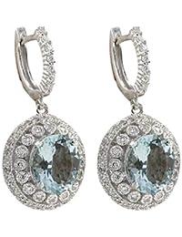 0ca55ce16213 GreatFun Moda Mujer Aguamarina Piedras Preciosas Nupcial oído Stud aro  cuelga el Pendiente Perlas de imitación