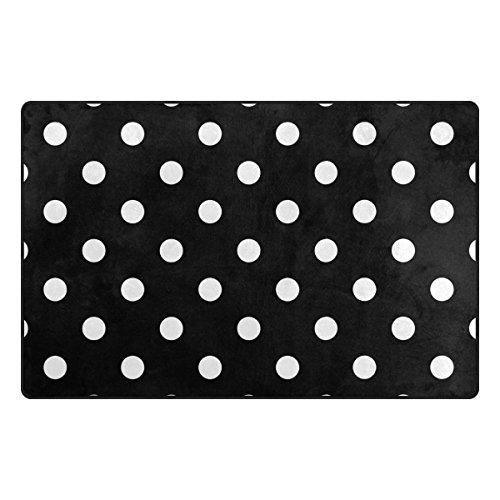 hengpai Dekorieren Teppiche Schwarz Weiß Dot Fußmatte Rutschfeste Polyester Wohnzimmer 78,7x 50,8cm, Schwarz, 60 x 39 inch (Schwarzer Teppich Clearance)