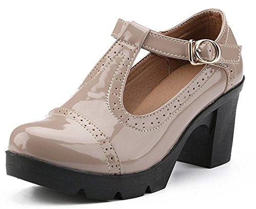 DADAWEN Women's T-Strap Platform Court Shoes Mid Heel Mary Jane Oxfords Dress...