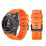 Hunpta@ Armbanduhr Band für Garmin Fenix 5X Plus, Silikon-Schnellverschluss Easy Fit Wristband Ersatz (Orange)