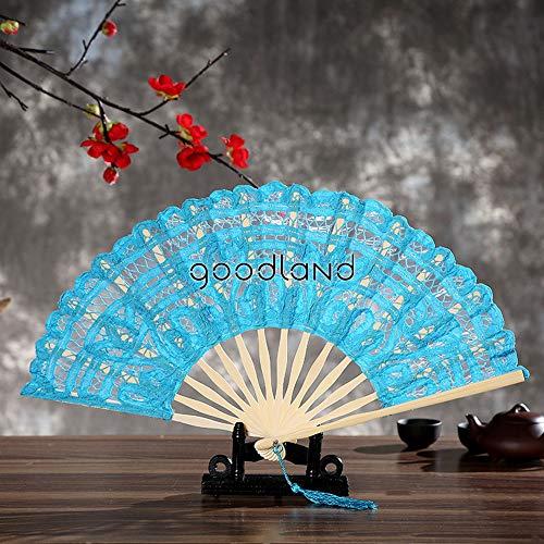 XIAOHAIZI Handfächer,1 Stücke Spanien Viktorianischen Blauen Spitze Hand Fan Für Hochzeit Damen Geschenk Faltfächer Wanddekoration Tanz - Viktorianischen Tanz Kostüm