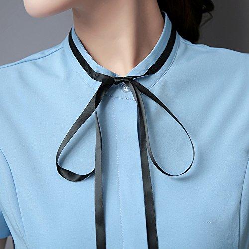 Cheerlife Elegant Damen Bluse Kurzarm Stehkrangen Hemdblusen Hemd Slim Fit OL Business Tunika Oberteil Blau