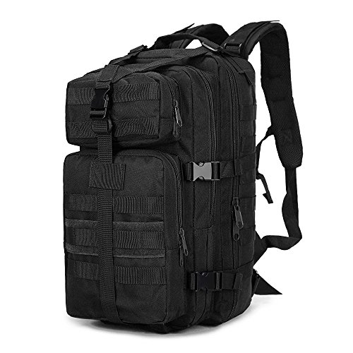 Rophie Military Water-resistant Camouflage Hiking Daypack/Camping Backpack/Travel Daypack/Casual Backpack 35L (Black)