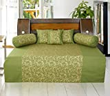 #6: Dekor World Gold Printed Cotton Green Diwan Set (Pack of 6)