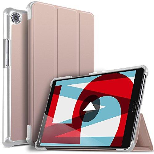 Huawei MediaPad M5 8.4 Hülle, ELTD Ultra Leightweight Flip Hülle mit Ständer Funktion und Eingebautem Magnet Hochwertiges PU Leder Schutzhülle für Huawei MediaPad M5 8.4 Zoll 2018 Modell [Rosegold]