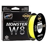 SeaKnight Monster W8Lignes de Pêche tressées 8brins 500m Tresses super lisses  en polyéthylène pour pêche en mer 6,8– 45,4kilos, Homme, jaune haute visibilité