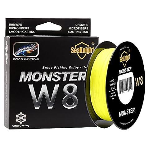 Seaknight Monster W8tressé lignes 8Strands Tissages 500m/500,2m Super lisse PE tressée Multifilament Pêche lignes pour pêche en mer 15–45,4kilogram, Homme, jaune haute visibilité, 0.8#:15LB/Diam:0.14mm/547Yds/500M