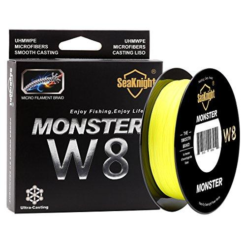 SeaKnight Monster W8 sedal Trenzado Pesca 8 Hilos, 500 m, Super Suave, de Polietileno, Hilo Trenzado de multifilamentos para Pesca en mar, 6,8 kg - 45,4 kg