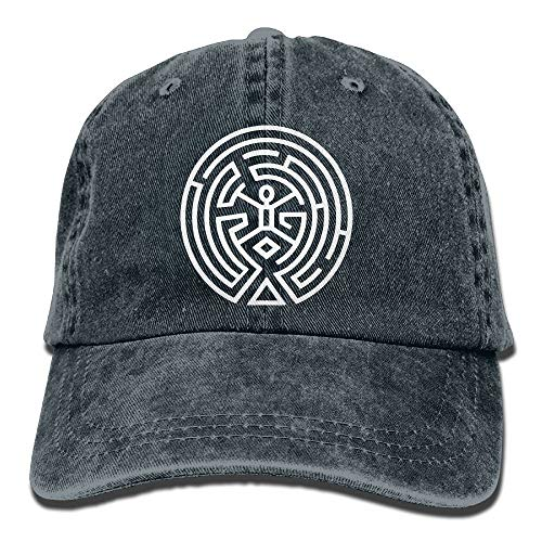 Westworld Maze Map Men's Black Adjustable Vintage Washed Denim Baseball Cap Dad Hat Trucker Cap