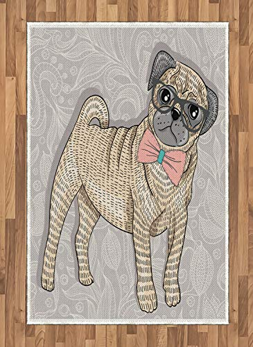ABAKUHAUS Mops Teppich, Hipster Dog Nerdy Brille, Deko-Teppich Digitaldruck, Färben mit langfristigen Halt, 120 x 180 cm, Hellgelb Hellrosa Hellgrau