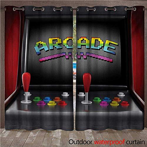 WilliamsDecor Videospiele Outdoor Vorhänge für Terrasse Sheer Arcade Maschine Retro Gaming Fun Joystick Knöpfe Vintage 80er 90er Jahre Elektronisch W96 x L84 color01