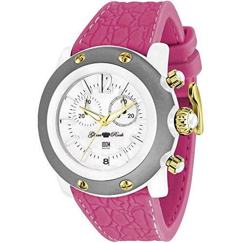 Glam Rock Women's Miami Beach 46mm Pink Silicone Band Polycarbonate Case Quartz White Dial Watch GR2510