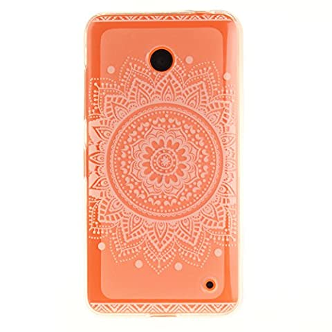 "Nokia Lumia 630 Hülle, SsHhUu Kratzfeste Clear Durchsichtig Ultra Slim TPU Schutzhülle Bumper Tasche Cover Case für Nokia Lumia 630 / N630 (4.5"") - Weißes Charmantes Mandala Blumenmuster"