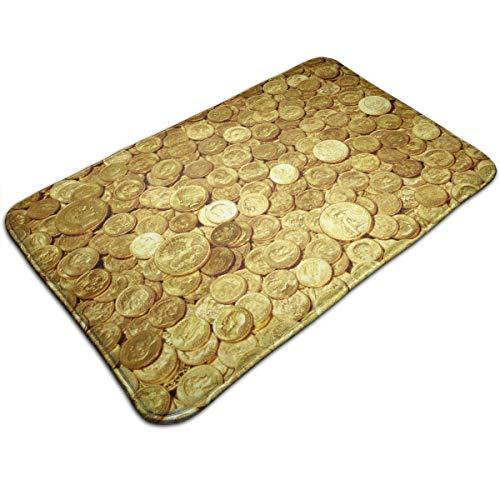 huibe Memory-Schaum Überwurf, Badteppich, Goldmünzen, erstaunlich Rutschfest, Premium-Zottelteppich, für Wohnzimmer, Schlafzimmer, Büro, schnell trocknend, 40 x 60 cm -