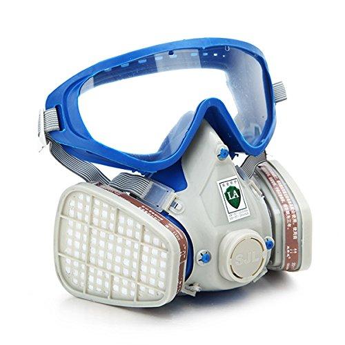 MASUNN Silikon Full Face Respirator Gasmaske & Schutzbrillen Umfassende Abdeckung Farbe Chemische Pestizid Maske Staubdicht Feuer Flucht (Maske Chemische)