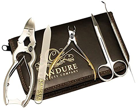 CANDURE® - Professional 5 Pieces Heavy Duty Stainless Steel Nail Nipper - Nail Clipper- Nail Cutter (CHIROPODY PODIATRY TOOLS)- Nail care - Personal Manicure & Pedicure Set - Toe Nails Scissors for thick Toe Nails - Nail Lifter Tool - Foot Dresser and Diamond Deb Nail File + Travel Grooming Kit (Plain Nail Clipper)