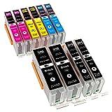 ESMOnline 10 komp. XL Druckerpatronen als Ersatz für Canon PGI-570 (Schwarz) / CLI-571 (Photoschwarz/Cyan / Magenta/Yellow)