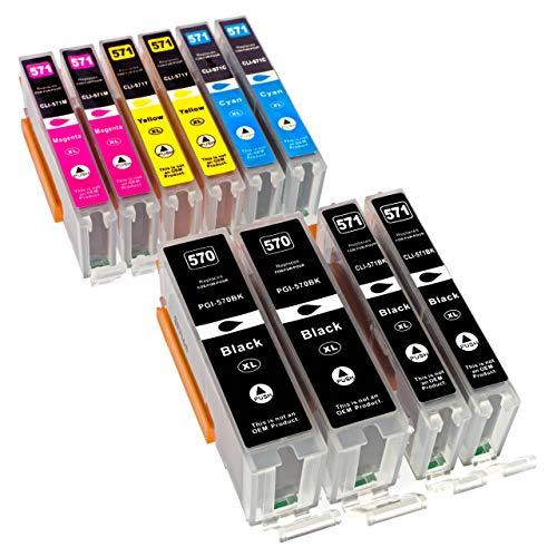 ESMOnline 10 komp. XL Druckerpatronen als Ersatz für Canon PGI-570 CLI-571 TS 5050 5051 5052 5053 5055 6050 6051 6052 8050 8051 8052 8053 9050 9055